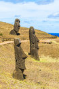 Volcanic Stone Statue At Rapa Nui National Park Royalty Free Stock Photos - 68905958