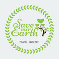 Earth Day Eco Green Vector Design. Circle Organic Leafs Royalty Free Stock Photo - 68909555