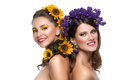 Two Girls With Flowers In Hair Stock Images - 68913674