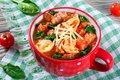 Tortellini Soup With Italian Sausages, Spinach, Tomato, Parmesan Cheese Stock Photos - 68917593
