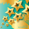 Abstract Origami Gold Stars On Blue Vector Background. Royalty Free Stock Image - 68919466