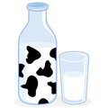 Milk Bottle And Glass Of Milk Royalty Free Stock Images - 68929759