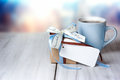 Father S Day Holiday Greeting Card Empty Space.Present Box Mug. Royalty Free Stock Image - 68932416