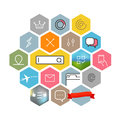 Modern Web And Mobile Application Pictograms Collection. Color Lineart Intercece Icons Royalty Free Stock Photos - 68934688