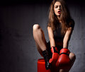 Beautiful Sexy Woman With Red Boxing Gloves At The Gym Concept A Royalty Free Stock Photography - 68949587