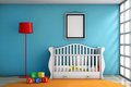 Children Room With Bed, Lamp And Blank Photo Frame Stock Photography - 68975932