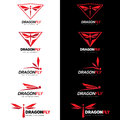 Red Dragonfly Logo Vector Set Art Design Stock Photos - 68978793