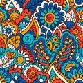 Hand Drawn Seamless Pattern With Floral Elements. Colorful Ethnic Background. Stock Photography - 69001652
