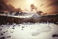 Frozen Lake, Fir Forest And Mountains. Lake Carezza In South Tyrol In Italy. Stock Photo - 69029080