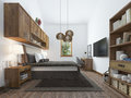 Large Bedroom In Modern Style With Elements Of A Rustic Loft. Stock Image - 69038801