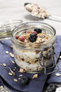 Diet Weight Loss Breakfast, Healthy Life Concept With Home Made Muesli With Fresh Fruits Royalty Free Stock Photography - 69045827
