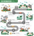 Ecology Infographics With Town Road Royalty Free Stock Photos - 69054688