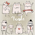 Set With Cute Cats Royalty Free Stock Image - 69055256