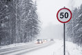 Road Sign Speed Limit 50 Km/h Stock Image - 69071341