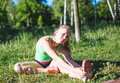 Young Woman Training In City Park At Summer Day Royalty Free Stock Photo - 69089005