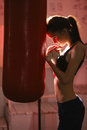 Girl In Boxing Gloves Stock Photography - 69090212