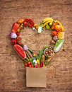 Studio Photography Of Heart Made From Different Fruits And Vegetables Stock Photos - 69090643