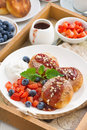 Cottage Cheese Pancakes With Fresh Berries And Cream Stock Photography - 69092622