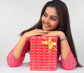 Asian Lady With A Gift Box Stock Images - 6911234