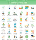 Vector Ecology Color Flat Icon Set. Elegant Style Design. Royalty Free Stock Images - 69108319