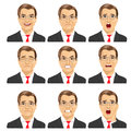 Set Of Different Expressions Of The Same Middle Aged Businessman With Glasses Royalty Free Stock Image - 69111066