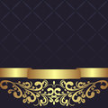 Dark Blue Geometric Background Decorated The Golden Floral Border. Royalty Free Stock Image - 69116216