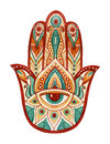 Hamsa Hand In Watercolor. Protective And Good Luck Amulet In Indian, Arabic  Jewish Cultures. Hamesh Hand In Vivid Colors. Royalty Free Stock Image - 69137596