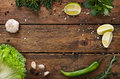 Green Food Background, Rustic Wood With Copyspace Stock Photo - 69138580