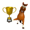 Cute Horse Cartoon Character With Winning Cup Stock Image - 69142241