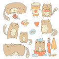 Cute Hand Drawn Cats Collection Stock Images - 69142544