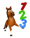 Cute Horse Cartoon Character With 123 Sign Stock Image - 69143851