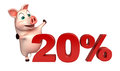 Cute Pig Cartoon Character With 20 Sign Royalty Free Stock Photo - 69145705