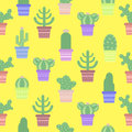 Seamless Pattern With Cacti In A Pot. Icon Of Cactus Flower. Stock Photos - 69147323
