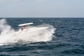 White Motor Boat Rushing Through The Waves Royalty Free Stock Images - 69148629