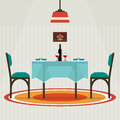 Flat Style Table For Two With Cloth, Wine Glasses, Bottle . Stock Images - 69157334