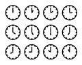 Set Of Clock Faces Simple Black Icons For Every Hour On White Stock Photo - 69167660