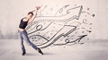 Street Dancer With Arrows And Stars Royalty Free Stock Photography - 69169237