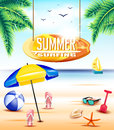 Hanging Summer Surfing Surfboard Sign At The Beach With Umbrella Stock Image - 69178531