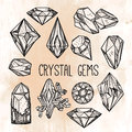 Set Of Hand Drawn Crystal Gems. Stock Photography - 69188242