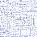 Math Education Vector Seamless Pattern With Handwritten Formulas, Tasks, Plots, Calculations And Geometrical Figures Royalty Free Stock Images - 69221469