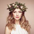 Beautiful Blonde Woman With Flower Wreath On Her Head Royalty Free Stock Photos - 69233908