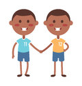 Twins Happy Kids Holding Hands Boy And Girl Vector Illustration. Royalty Free Stock Photography - 69249447