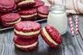 Red Velvet Sandwich Cookies Stock Image - 69251251