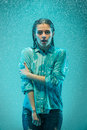 The Portrait Of Young Beautiful Woman In The Rain Stock Photos - 69287173