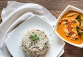 Thai Panang Curry With Bowl Of White And Wild Rice Stock Photo - 69295860