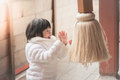 Asian Child Is Praying At The Shrine Stock Photo - 69305820