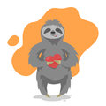 Vector Illustration Of Loving Happy Cute Sloth With Heart Stock Images - 69310294