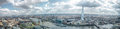 London Skyline Wide View Panorama. East & South Landmarks, Tower Of London, River Thames Canary Wharf, The Shard, London Bridge. Royalty Free Stock Photo - 69319445