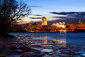 Albany NY View From The Rennsaeler Boat Dock On An Icy Night Royalty Free Stock Photo - 69319525