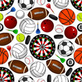 Seamless Pattern With Sport Items Stock Photos - 69324713